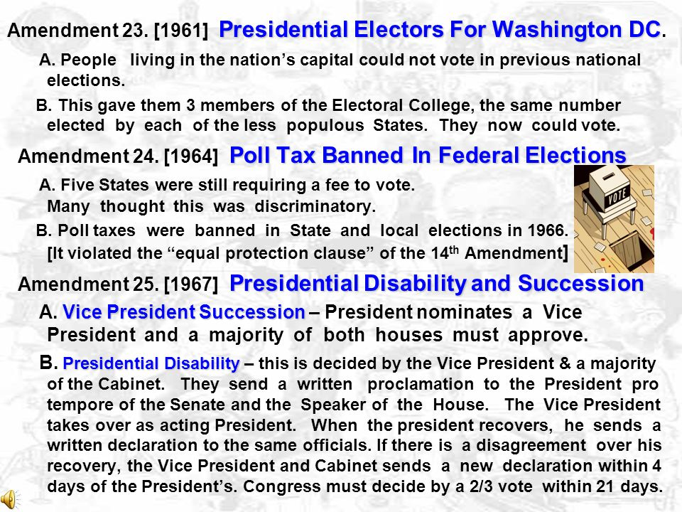 Amendment 23. [1961] Presidential Electors For Washington DC.